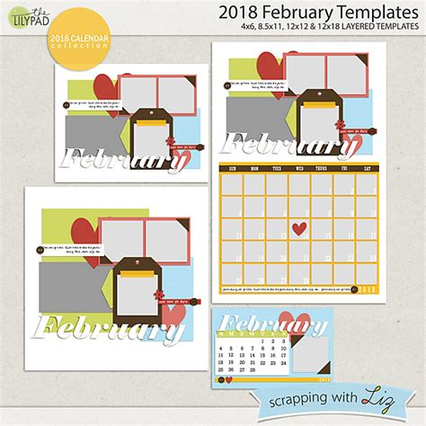 scrapbook calendar template digital scrapbook templates 2018 february scrapping