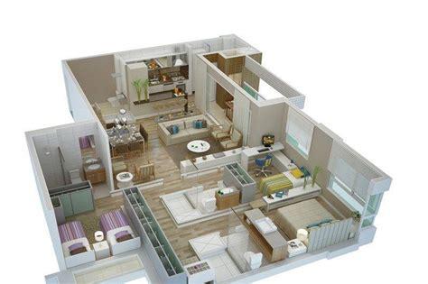 planta 3d planta de casas 3 quartos em 3d veja os modelos na
