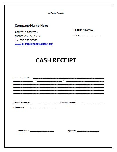 form template receipt form for cash payment word blank ms missing