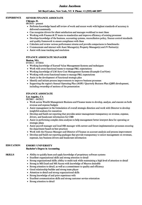 Finance Associate Sle Resume by Finance Associate Resume Sles Velvet