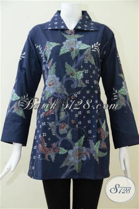 Blus Batik Biru Xl baju blus batik biru dongker motif terbaru trend masa kini bau batik tulis formal cocok untuk