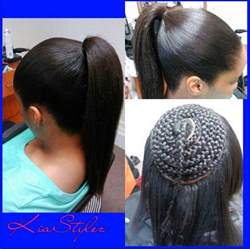 hair do with sew in weave with a part in the middle sew in ponytail black hair information community