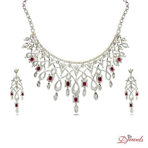 White Gold Jewellery by Wedding Necklace Set Designs At Djewels Org