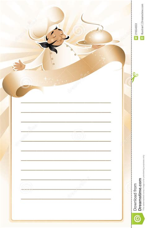 chef recipe template golden chef menu template stock vector image of cook