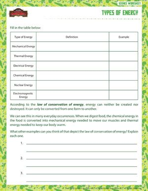 Types Of Energy Worksheet Answers by Types Of Energy Printable Sixth Grade Science Worksheet