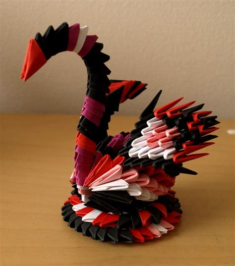 3d Origami Small Swan - small colorful swan 3d origami by denierim on deviantart