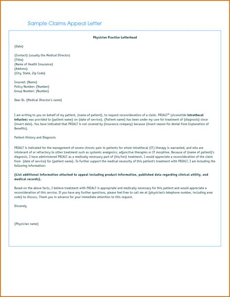 Letters For Insurance 13 Appeal Letter For Insurance Claim Lease Template