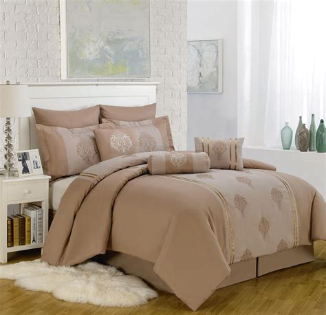9 piece king mayden taupe comforter set