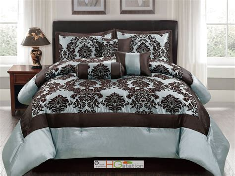 blue damask bedding 7p silky poly satin flocking damask floral square comforter set blue brown queen