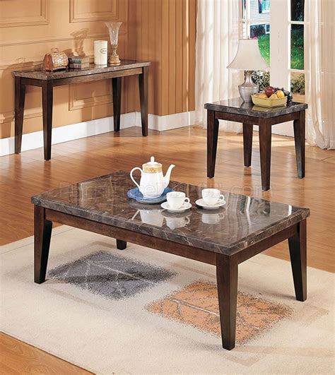danville 07142 coffee table 3pc set w black marble top
