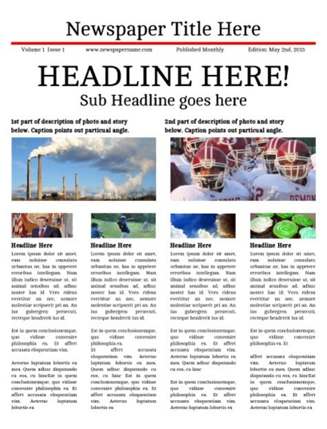 student newspaper template classroom newspaper templates