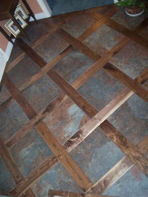custom tile wood mixed floor good idea