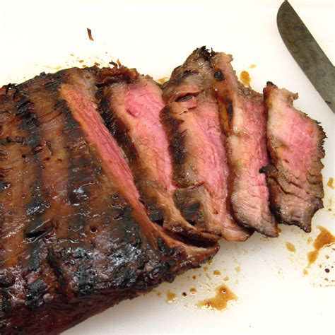 grilled flank steak with teriyaki marinade in the kitchen with kath