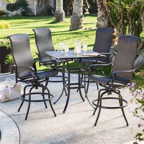 Bar Height Patio Dining Set Belham Living Palazetto All Weather Wicker Bar Height Patio Dining Set At Hayneedle