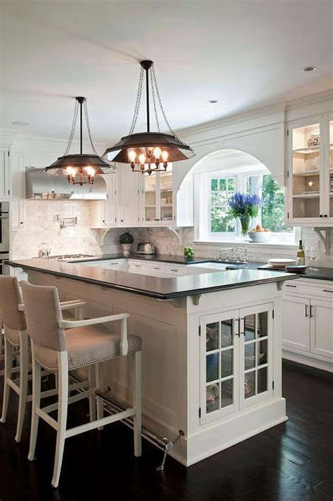 L Shaped Kitchen Island with Foot Rail   Transitional