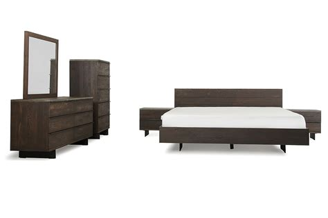 oak contemporary bedroom furniture modrest selma modern dark aged oak concrete bedroom set
