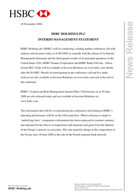 Release Letter Plc Hsbc Media Release Front Page Interim Management Statement Novembe