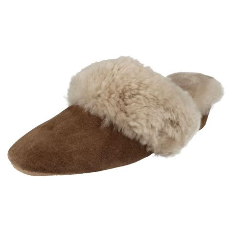 warm slippers morlands sheepskin leather wedge heel mule slippers