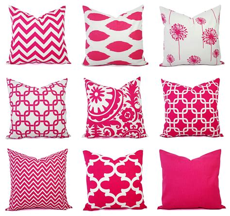Bright Decorative Pillows One Decorative Pillow Cover Bright Pink And By