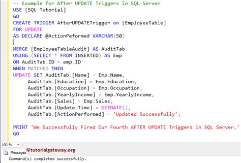 how to update table in sql after update triggers in sql server