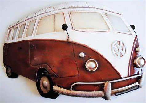 volkswagen van art cream coloured metal wall art rubber door mat wall art