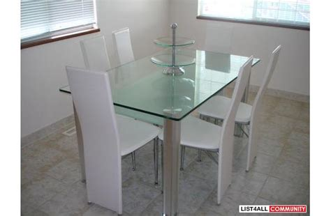 dining room set white leather chairs thick glass table