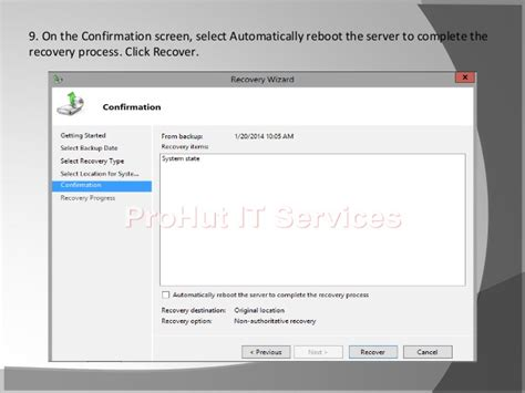 How to: Steps to perform Non authoritative restore on Windows Server