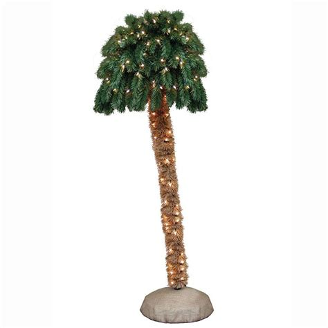 what artificial pre lit chridtmas are at home depot general foam 5 ft pre lit palm artificial tree with clear lights hd pt5000 the home