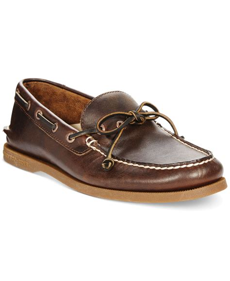 sperry shoes for sperry top sider a o 1 eye leather boat shoes in brown for
