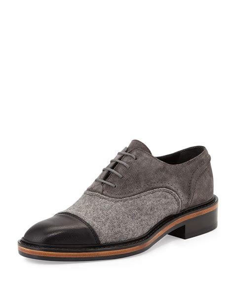 gray oxford shoes lanvin leather felt and suede oxford shoes in gray lyst