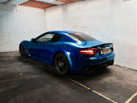 maserati blue blue chrome maserati wrap by printdsign manchester uk