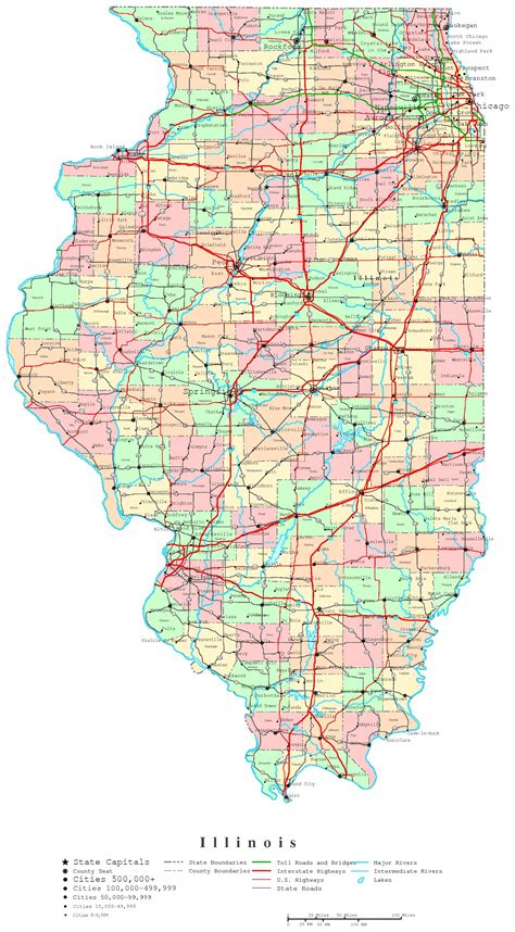 Map Of Illinois With Cities by Illinois Printable Map
