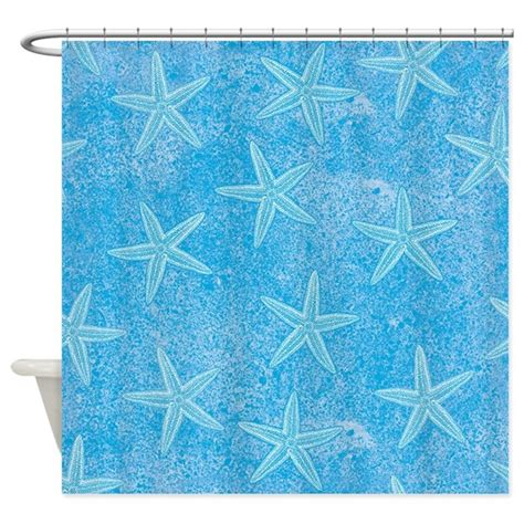 starfish shower curtain aqua blue starfish shower curtain by trendyteeshirts