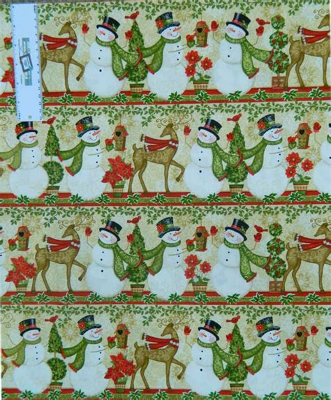 Patchwork Quilting Fabric - patchwork quilting fabric snowman winter border