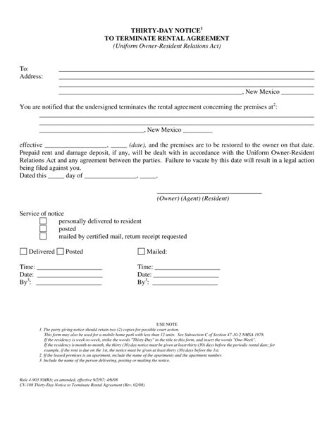 Lease Termination Letter 30 Day Notice New Mexico Day Lease Termination Letter 30 Day Notice Eforms Free Fillable Forms