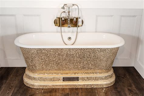 bath with gold style mosaic exterior