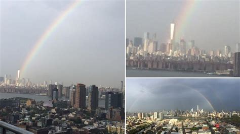 stunning rainbow appears over world trade center day