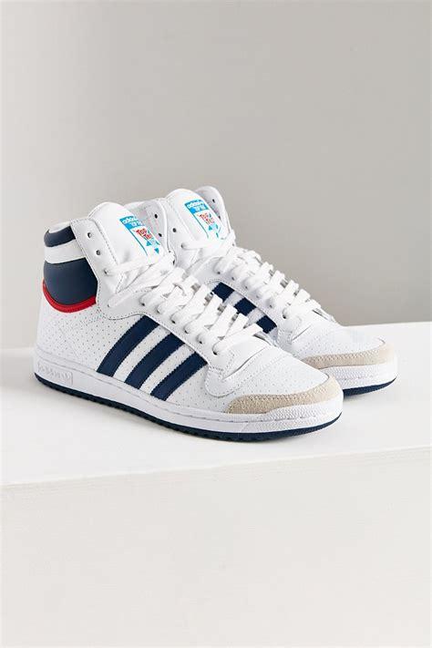 lyst adidas originals originals top ten hi high top sneaker in blue
