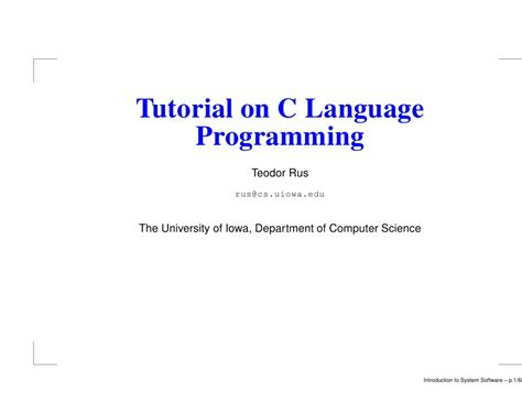 tutorial c programming tutorial on c language programming