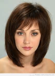 shoulder length hair with wispy bangs medium length hairstyles with bangs for thin hair 1
