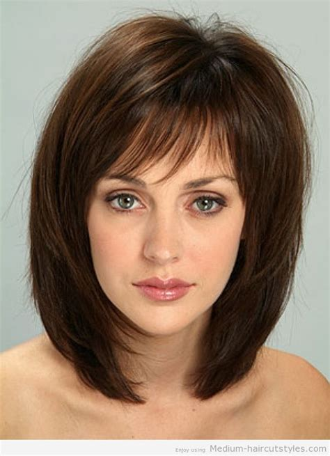 mid lenth beveled haircuts medium length hairstyles with bangs for thin hair 1