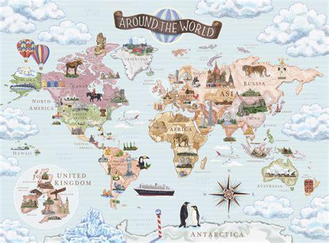 Childrens Wall Murals Uk world map adriennelanger com