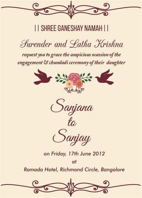 Engagement Invitations by Indian Engagement Invitation Wordings Engagement