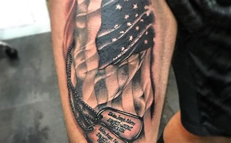 dog tags flag tattoo veteran ink