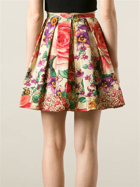valentino pleated floral skirt lyst