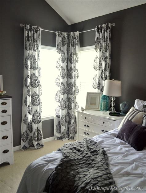 master bedroom drapes master bedroom update diy stenciled curtain panels wall