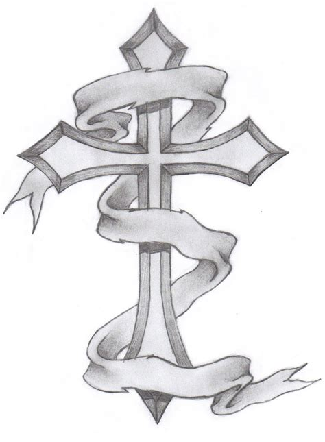 cross with a banner tattoo designs banner with cross design