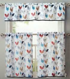 Turquoise Valance Curtains Rooster Kitchen Window Curtains 3 Set Floral Tiers Valance
