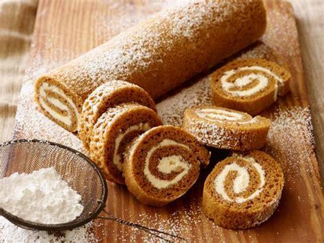 pumpkin cake roll pumpkin roll recipe food network recipe trisha