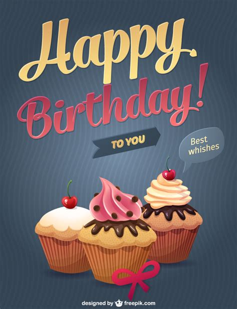 happy birthday design for cupcakes happy birthday cupcakes vector free download
